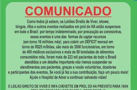 Utilidade Pública Kadaesportes Comunicado do Hospital do Amor.