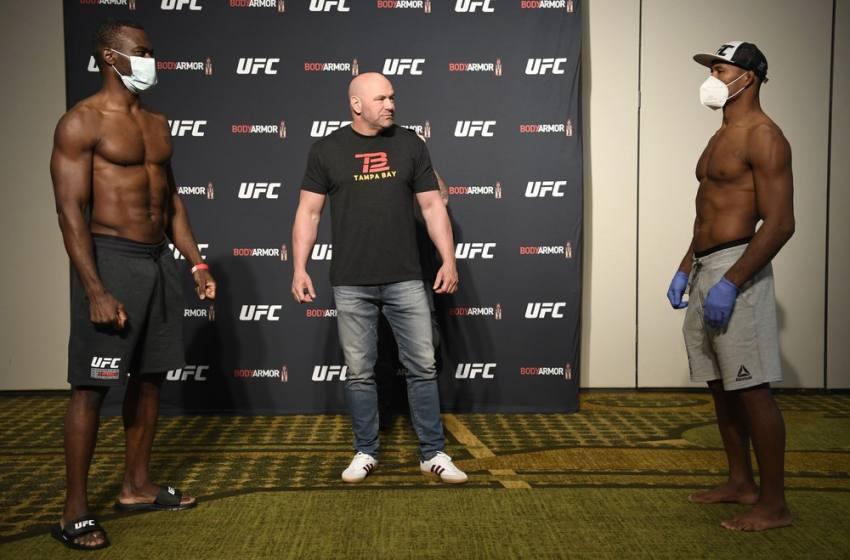 """""""Explosão da balança"""" e encarada com distanciamento: confira a pesagem do UFC 249 na Flórida."""