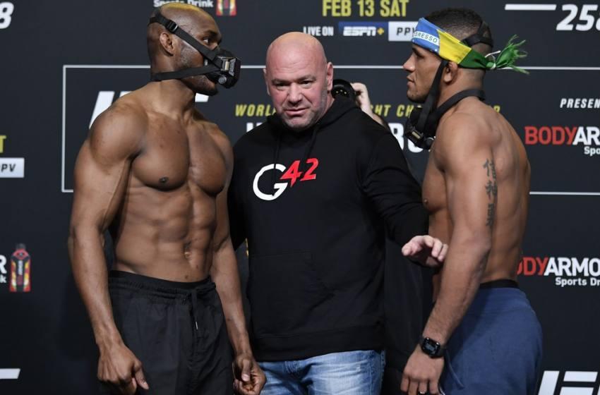 Kamaru Usman e Gilbert Durinho fazem encarada intensa na pesagem do UFC 258.